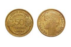 França 50 centimes 1938 Fotografia de Stock Royalty Free
