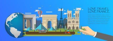 França infographic, global com os marcos de Paris, estilo liso Imagens de Stock Royalty Free
