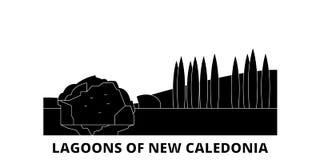 França, lagoas do grupo liso da skyline do curso de Nova Caledônia França, lagoas do vetor da cidade do preto de Nova Caledônia ilustração do vetor