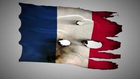 França perfurou, queimado, alfa de ondulação do laço da bandeira do grunge filme