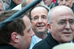 François hollande in the crowd. François hollande french president in the street Royalty Free Stock Photos
