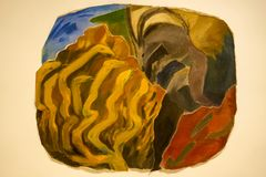 Françoise Sullivan painting at MAC Museum royalty free stock photo