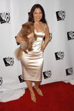 Fran Drescher. Actress FRAN DRESCHER, star of TV series 'Living With Fran', with her dog Esther at the WB TV Network's 2005 All Star Celebration in Hollywood Royalty Free Stock Photo