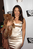 Fran Drescher. Actress FRAN DRESCHER, star of TV series 'Living With Fran', with her dog Esther at the WB TV Network's 2005 All Star Celebration in Hollywood Royalty Free Stock Photos