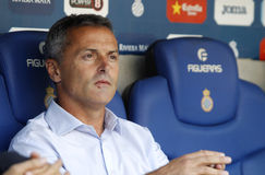 Fran Escriba manager of Getafe. During a Spanish League match against RCD Espanyol at the Power8 stadium on August 22 2015 in Barcelona Spain Stock Photo
