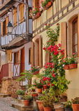 França, casa velha pitoresca em Eguisheim em Alsácia Imagens de Stock Royalty Free