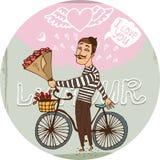 Francés amoroso en una bicicleta con las rosas rojas ilustración del vector