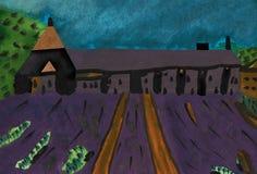 Francês Abbey Senanque com campo da alfazema Imagem de Stock Royalty Free