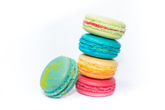 Francês colorido saboroso e sortido Macarons Imagens de Stock Royalty Free