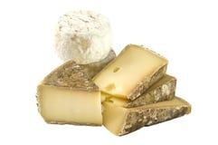 ? francês Crottin de Chavignol e Tomme dos queijos Imagem de Stock