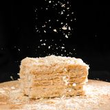 Francês delicioso Napoleon Cake do close-up da massa folhada com ácido foto de stock