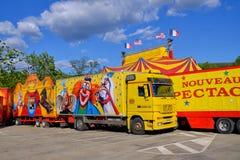 Francês do caminhão do circo foto de stock
