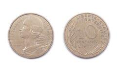 Francês moeda 1983 de dez Centimes Foto de Stock Royalty Free