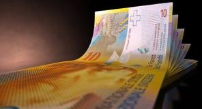 Franc Bank Notes Spread Stock Photo