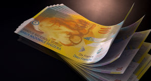 Franc Bank Notes Spread Stock Images