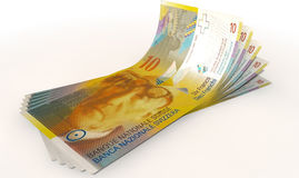 Franc Bank Notes Spread Royalty Free Stock Photo