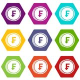 Franc coins icon set color hexahedron. Franc coins icon set many color hexahedron isolated on white vector illustration Stock Photography