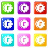 Franc coins icons 9 set. Franc coins icons of 9 color set isolated vector illustration Royalty Free Stock Photography
