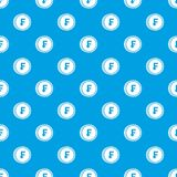 Franc coins pattern seamless blue. Franc coins pattern repeat seamless in blue color for any design. Vector geometric illustration Royalty Free Stock Image
