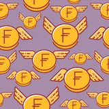 Franc coins with wings, seamless vector pattern vector illustration