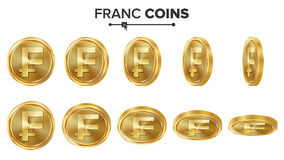 Franc 3D Gold Coins Vector Set. Realistic Illustration. Flip Different Angles. Money Front Side. Investment Concept. Finance Coin Icons, Sign, Success Banking Royalty Free Stock Photos