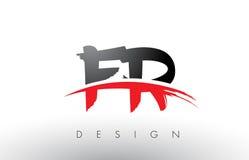 Franc F.R. Brush Logo Letters avec l'avant de brosse de bruissement de rouge et de noir Illustration Libre de Droits
