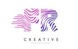 Franc F.R. Zebra Lines lettre Logo Design avec des couleurs magenta Images libres de droits