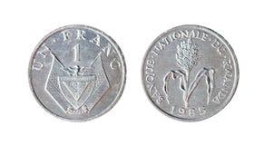 1 franc Frankrike 1985 Isolerat objekt på en vit bakgrund arkivbild