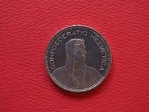 5 franc mynt, Schweiz Royaltyfria Foton