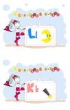 Francais del alfabeto. Alfabeto francés, vector L, K Imagenes de archivo