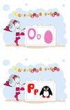 Francais del alfabeto. Alfabeto francés, vector O, P Foto de archivo libre de regalías