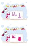 Francais del alfabeto. Alfabeto francés, vector U, V Fotografía de archivo libre de regalías