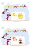 Francais di alfabeto. Alfabeto francese, vettore S, T Immagini Stock