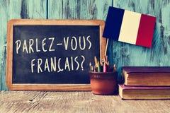 Francais parlez-vous da pergunta? você fala o francês? fotos de stock royalty free