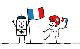 France !. Vector hand-drawn characters line Royalty Free Stock Photo