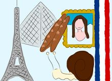 France. An illustration about France. French things Stock Photos