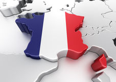 France. 3d rendering of France with flag Royalty Free Stock Photography