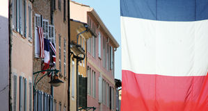 France. Flags in the streets of france blue white and red Royalty Free Stock Photo