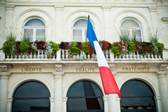 France. Facade of a French town hall with words: Liberty, equality and fraternity Royalty Free Stock Image