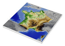 France, 3D relief map. 3D Relief Map of France, line of sight towards north-west Stock Image