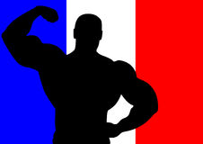 France. National flag of France with Athlete silhouette. Vector illustration Stock Photos