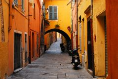 Free France- A Charming Street In Historic Villefranche Royalty Free Stock Images - 123258129