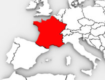 France Abstract 3D Map Europe Continent. An abstract 3d map of Europe the continent and several countries, with France highlighted in red, surrounded by Spain Royalty Free Stock Photography