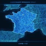 France abstract map. Highlighted France. Vector background. Futuristic style card. Elegant background for business presentations. Lines, point, planes in 3d Vector Illustration