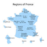 France administrative map with new regions Royalty Free Stock Images