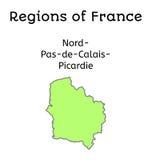France administrative map of Nord-Pas-de-Calais-Picardy Royalty Free Stock Photo