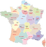 France administrative map. With regions and main cities Royalty Free Stock Images
