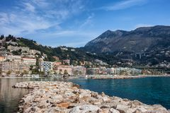 Menton Town on French Riviera. France, Alpes-Maritimes, French Riviera - Cote d`Azur, Menton, resort town on Mediterranean Sea Royalty Free Stock Photo