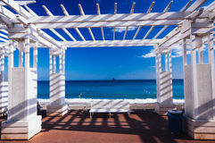 France, Alpes Maritimes, Nice, Promenade des Anglais. The pergola on the Promenade des Anglais facing the sea royalty free stock photos