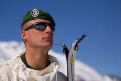France, Alps - December 4, 2011. Legionnaire-sapper during the mountain training. Stock Photos